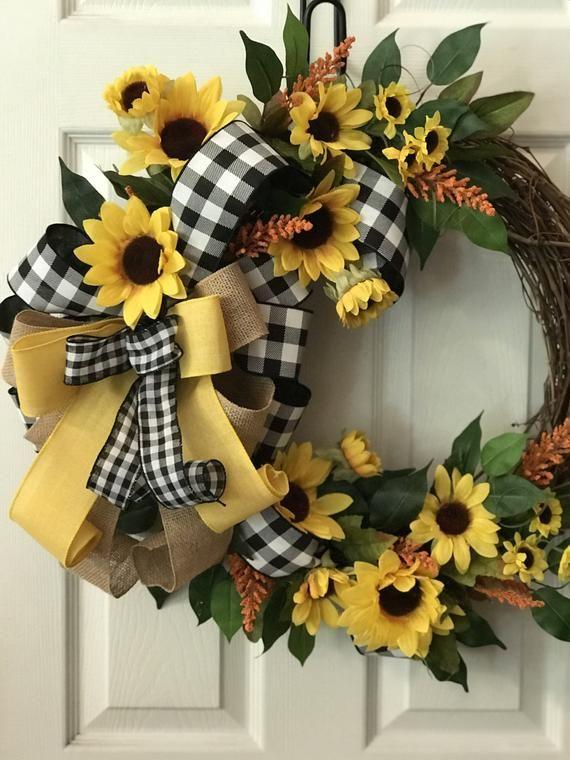 Photo of Everyday wreath, sunflower wreath, everyday grapevine wreath, farmer wreath, buffalo check wreath, summer vine, Christmas gifts