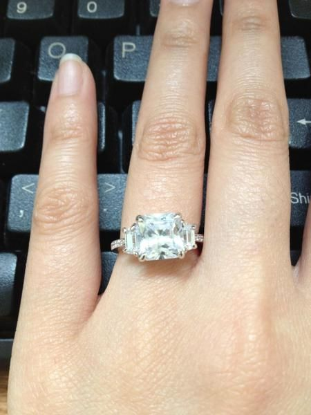 Princess Trapezoid Side Stones And Micropave Band He