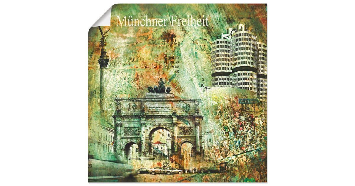 Poster, Canvas Print, Art Print Poster »Munich Skyline Architecture Digital Art, Nettesart: Münc