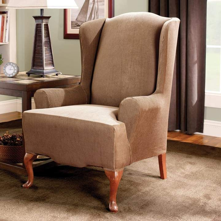 Terrific Sure Fit Striped Wingback Chair Slipcover Products Gmtry Best Dining Table And Chair Ideas Images Gmtryco