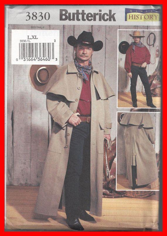 Uncut Men S Duster Coat Western Shirt Butterick Pattern 3830 Size Large X Large Costume Sewing Patterns Mens Historical Costumes Shirt Sewing Pattern