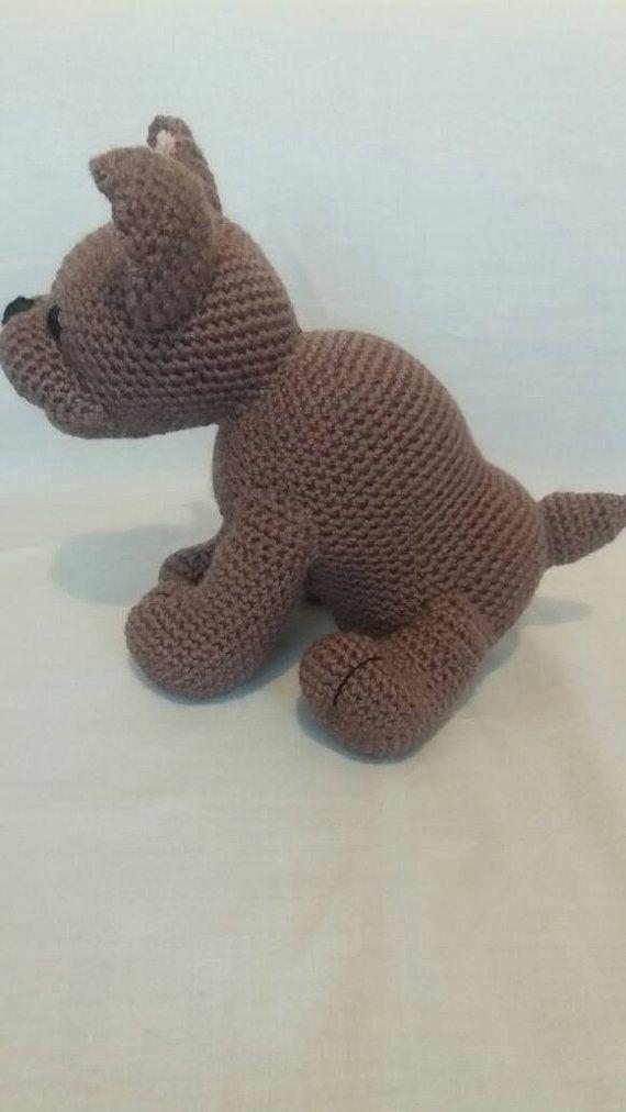 Crochet Dark brown French Bulldog - Soft toy French Bulldog - French ...