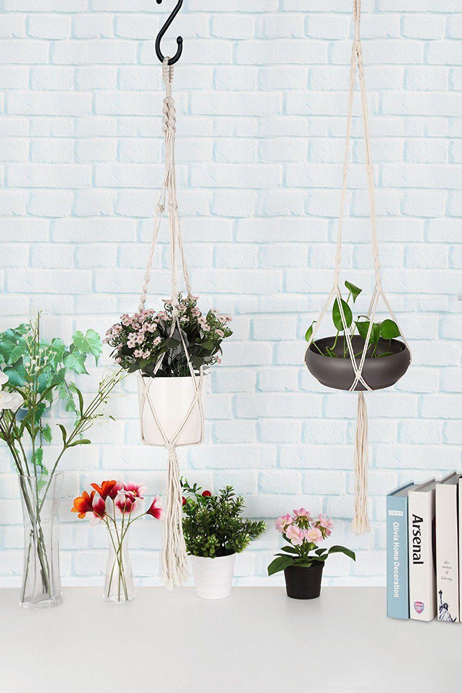 Aomgd 3 pack macrame plant hanger indoor outdoor hanging