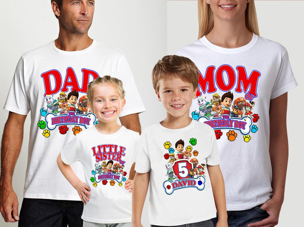 4e0472416cb Paw Patrol Birthday Custom Family Shirts for Boys/Girls ,Also available for  Kids And Parents,Personalizes Birthday Shirts