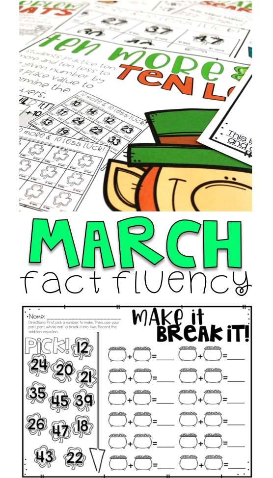No Prep Math Stations - March (With images)   Math ...