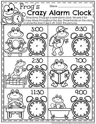Telling Time Worksheets Frog S Crazy Alarm Clock When Did He Set It So Fun Time Worksheets Telling Time Worksheets Kindergarten Telling Time