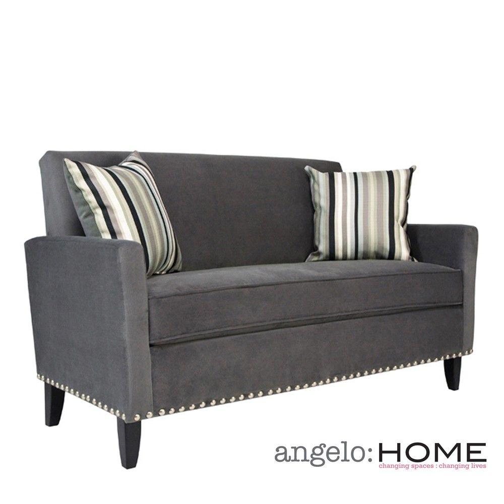Angelo Home Sutton Antique Silver Gray Sofa With Black