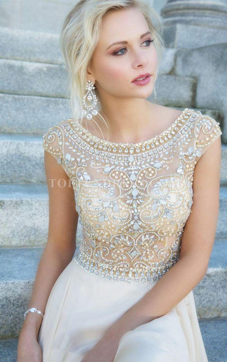 A-line Tulle Bateau Natural Waist Floor-Length Zipper Cap Sleeve Prom Dress