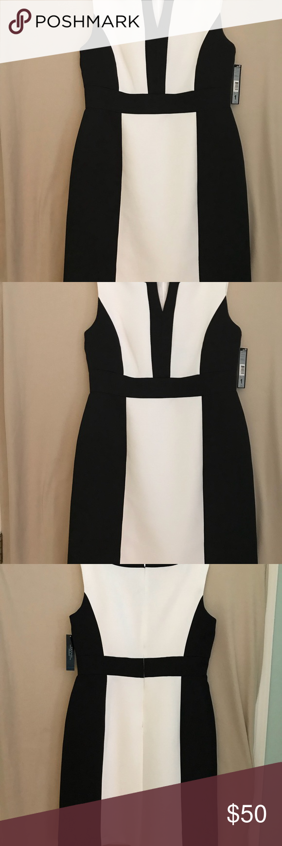Black and white Tahari dress size 12. Black and white Tahari by Alfred S. Levine dress size 12. Runs small. Never been worn and still has tags. Sleeveless, back zip, dry clean only. 38.5 inches from shoulder to hem. Tahari Dresses Midi