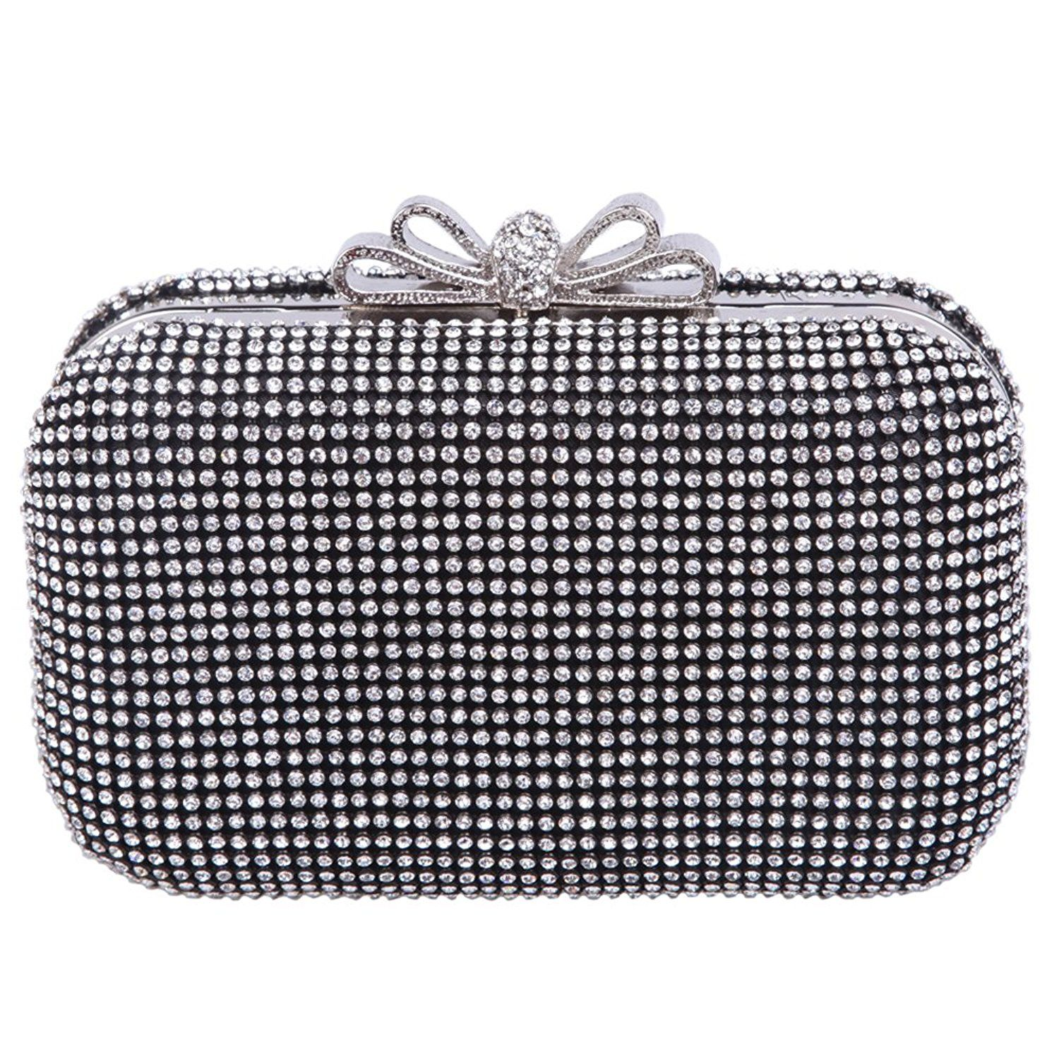 bd1e1351ff Ainemay Metal Bow Clasp Rhinestone Crystal Box Clutch Evening Bags --  Review more details here : Evening Handbags