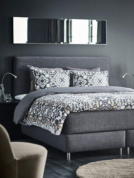 dunvik lit boxspring 888€   décoration en 2019   ikea bedroom