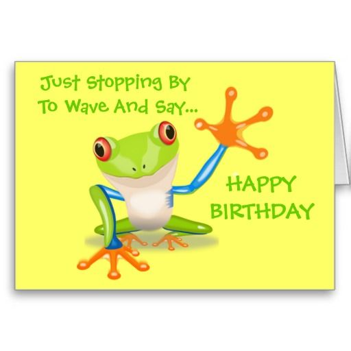 Cute Frog Funny Animal Kids Happy Birthday Card – Happy Birthday Kids Cards