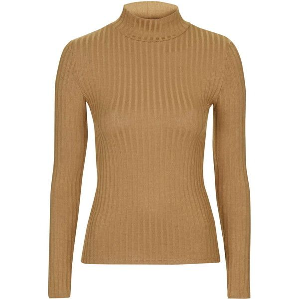 f385d6ba07a35 TOPSHOP Ribbed Funnel Neck Top ( 25) ❤ liked on Polyvore featuring tops