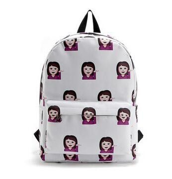 Pretty Style Women Canvas Backpacks Smiley Emoji Face Printing School Bag For Teenager Girl Shoulder Bags Mochila Feminina