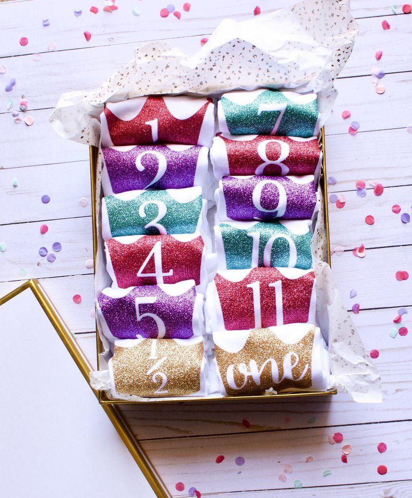 12piece milestone baby onesie gift set glitter rainbow