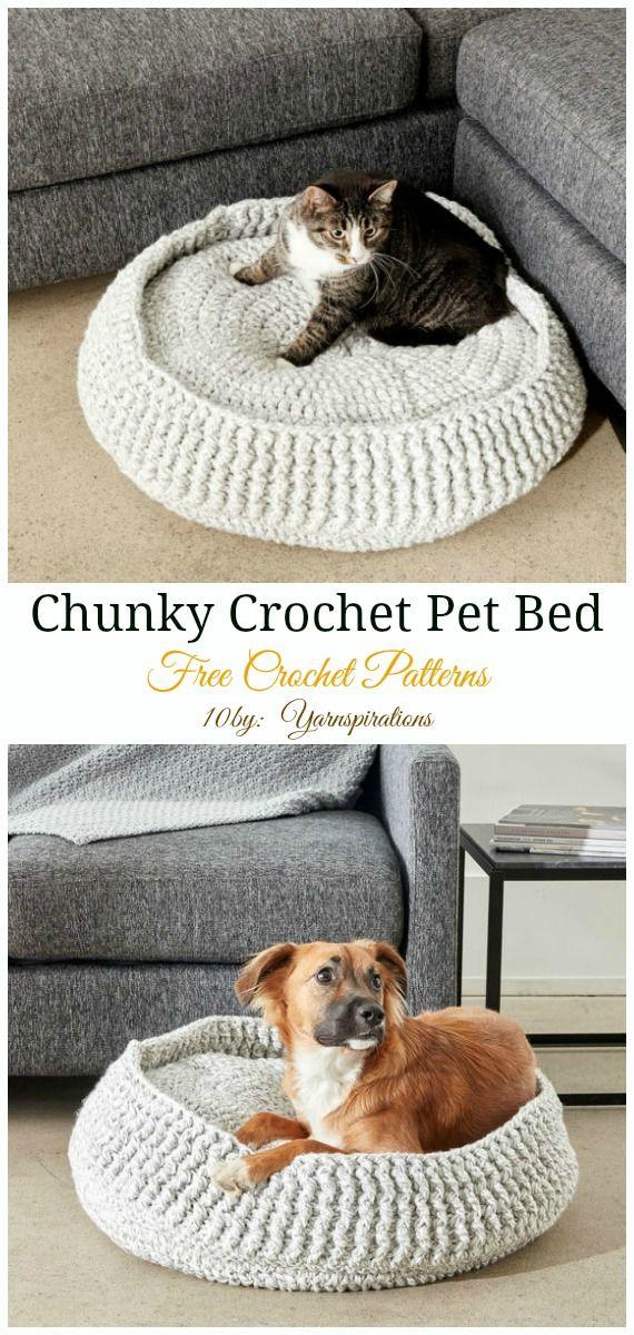 Small Chunky Crochet Pet Bed Crochet Free Pattern Easy Pet Bed Free Crochet Patterns Crochet Amigurumi Free Crochet Cat Crochet Animals