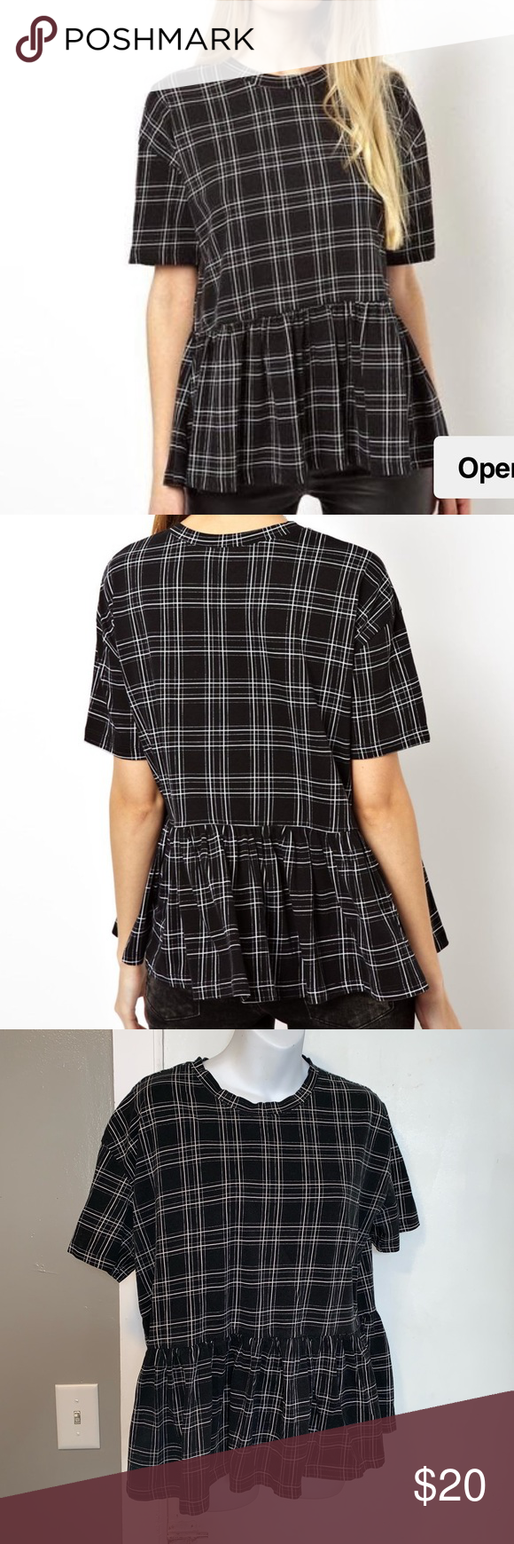 3337470da65 ASOS Oversize Peplum Check Top-8 L Black and white cotton check plaid print