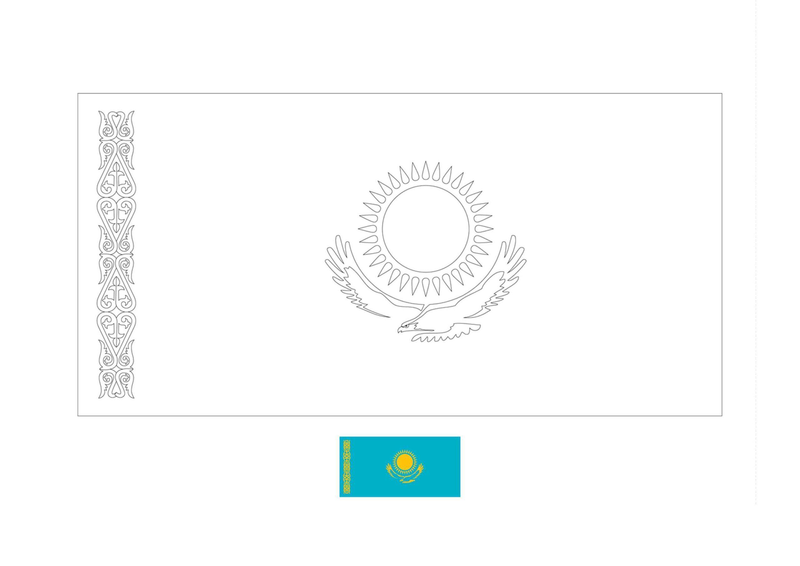 Kazakhstan Flag Coloring Page Coloring Pages Flag Coloring Pages Flag