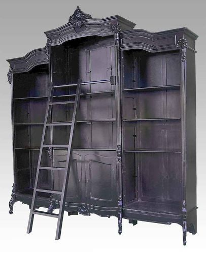 3 Meter Tall Wide Black French Provincial Piece Bookshelf Sliding Ladder
