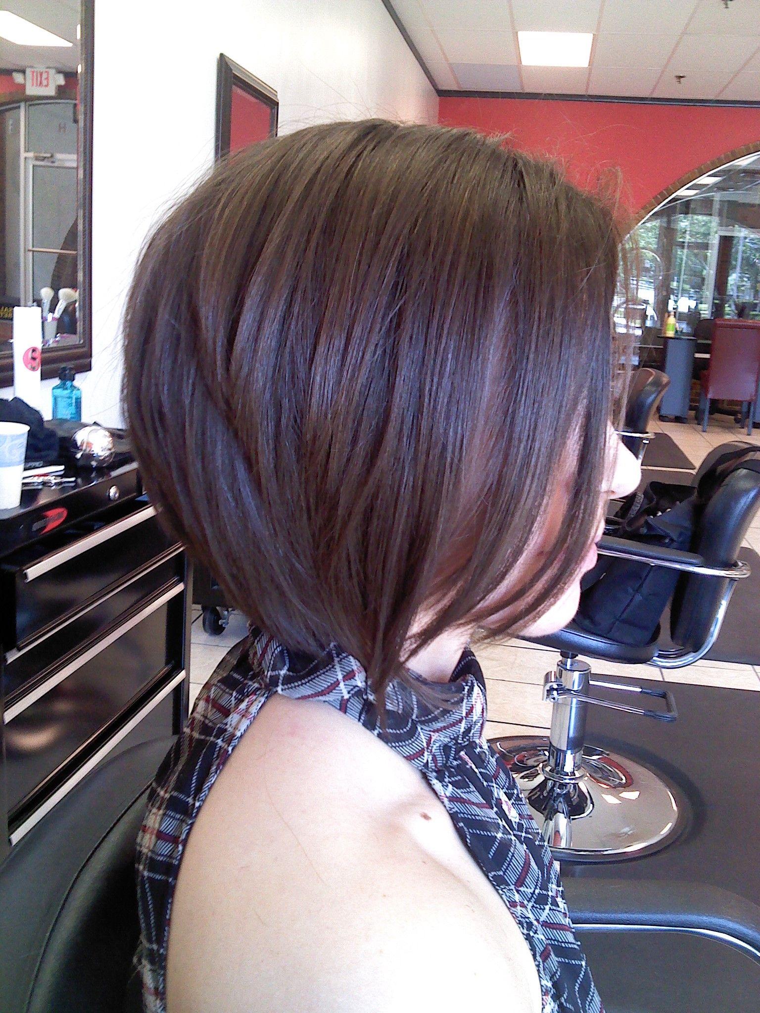 Short hair cut slightly aline medium length layers in the back