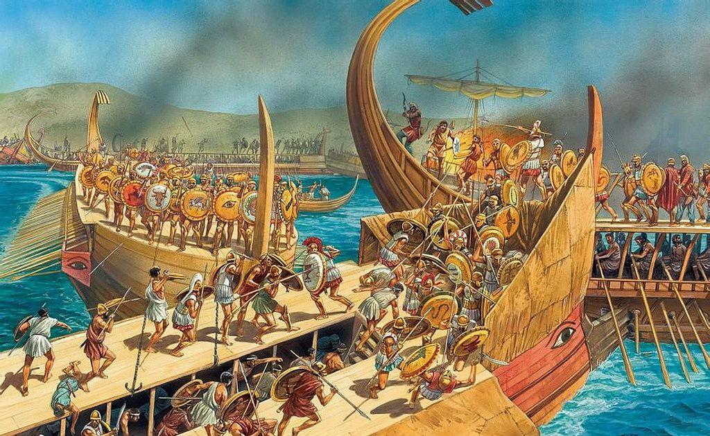 Batalla de las islas Arginusas, la última victoria de Atenas en la Guerra del Peloponeso, por cortesía de Peter Dennis. Más en www.elgrancapitan.org/foro
