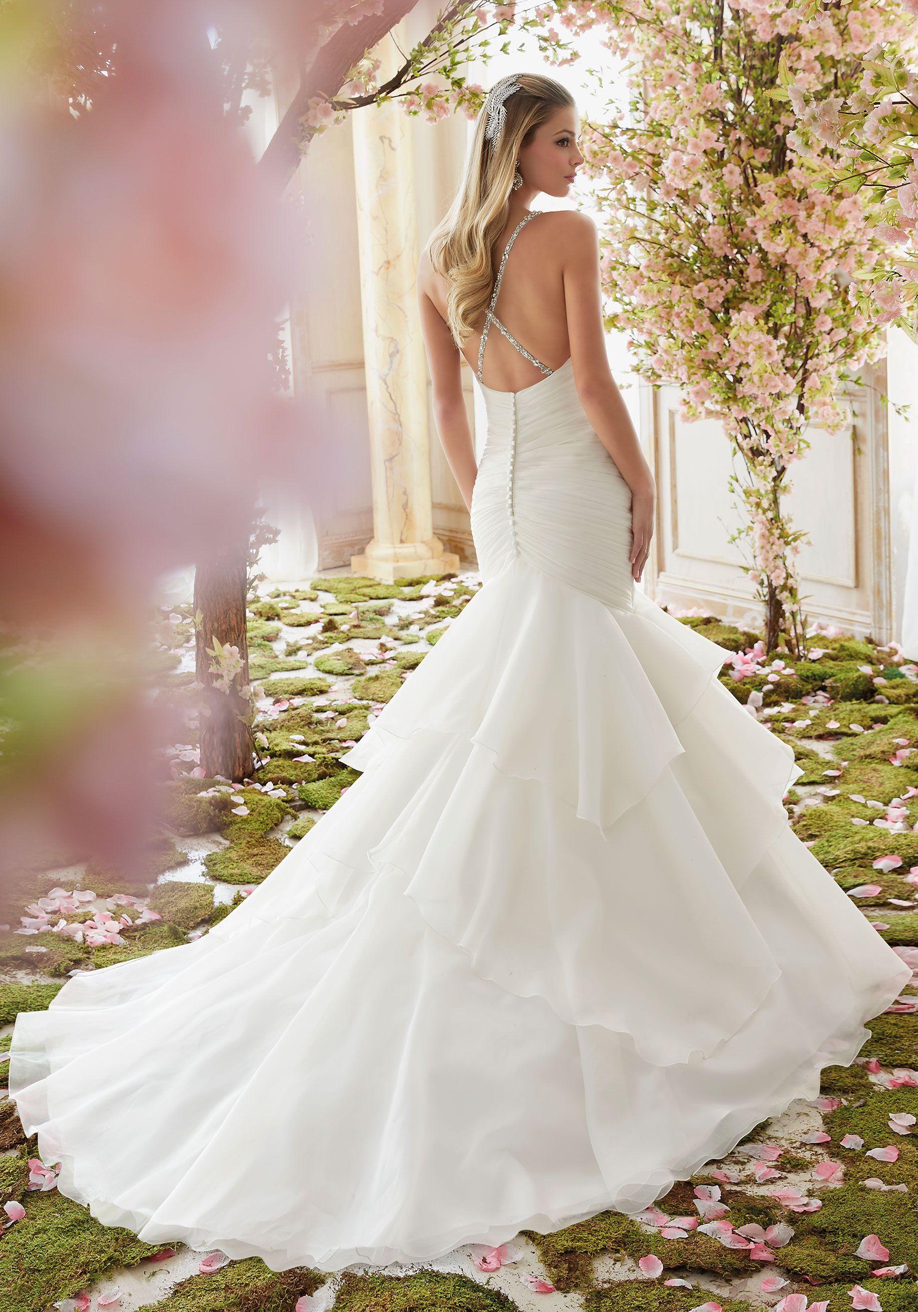 Crystal Beaded Straps on Organza Wedding Dress Morilee