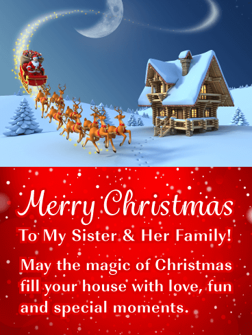 Merry Christmas Wishes For Sister Her Family Birthday Wishes And Messages By Davia Sister Christmas Merry Christmas Card Merry Christmas Sister