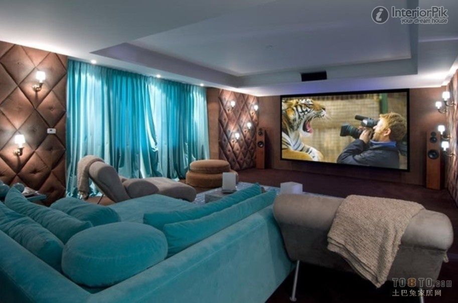 green green sofa bed home theater tv background - Designing Home Theater