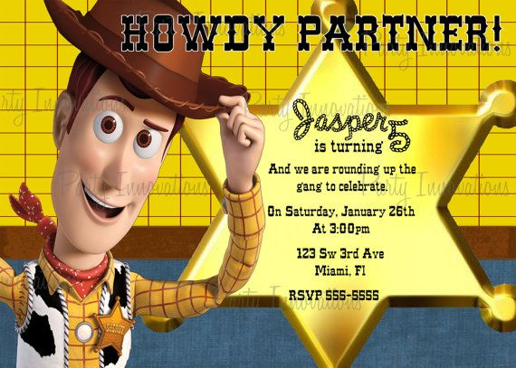 Printable Toy Story Woody Birthday Party Invitation plus free thank - fresh invitation card reuse