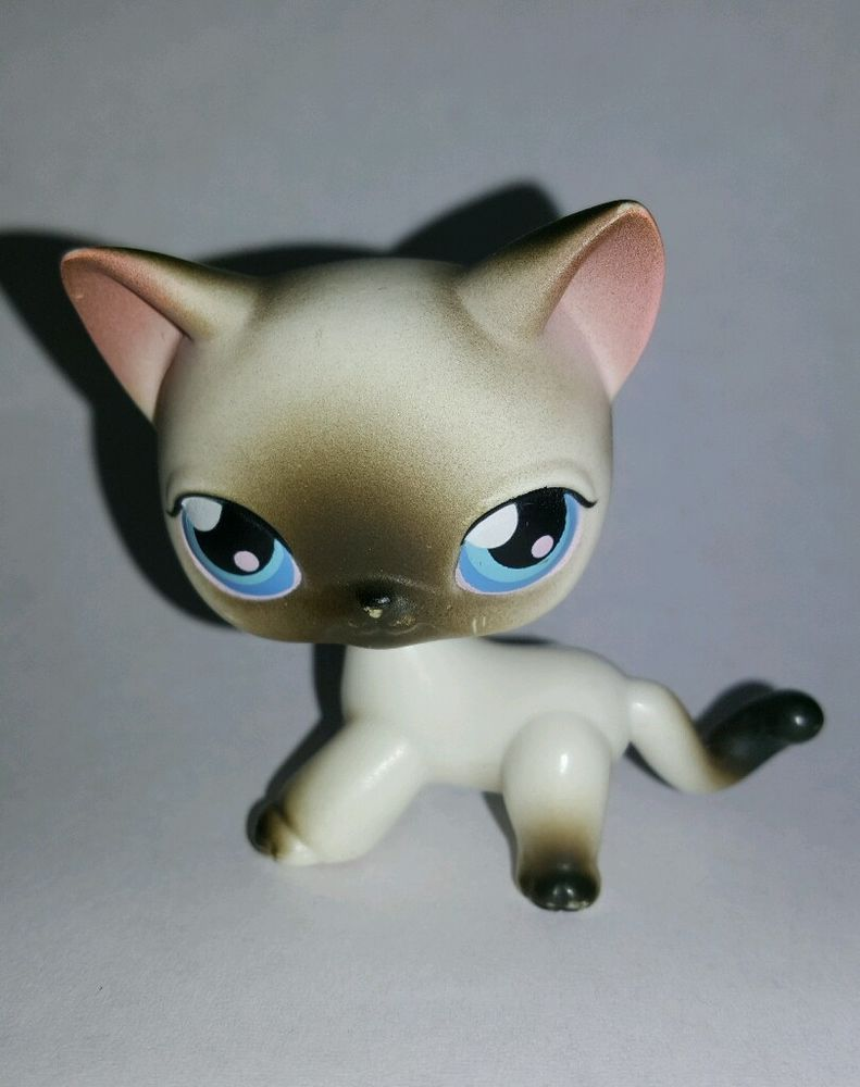 Littlest Pet Shop Black Siamese Cat Kitty Blue Eyes Toys Kids Gift Hasbro LPS