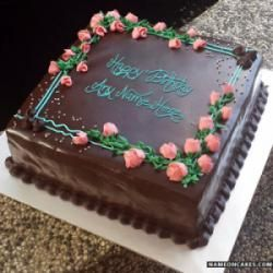 Beautiful Chocolate Mousse Cake For Birthday With Name Happy