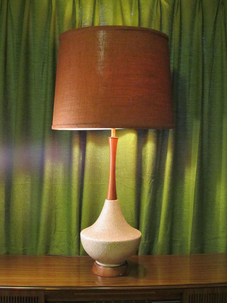 1960s Vtg Mid Century Modern Table Lamp Danish Teak Wood White Ceramic MCM  Tall!
