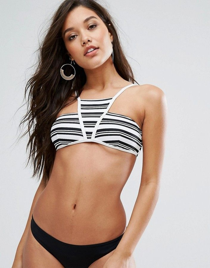 c87225ab436b8a MinkPink Stripes High Neck Bikini Top