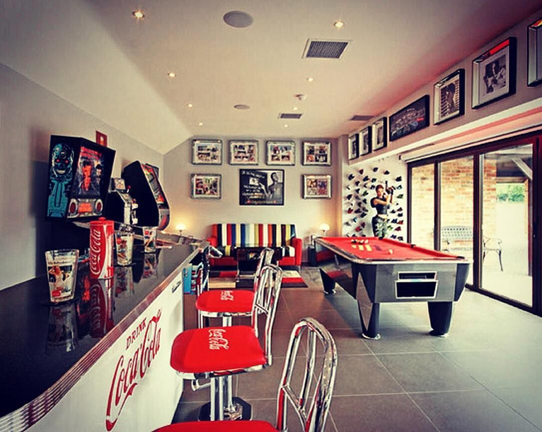 Gallery Of The Best Man Cave Ideas Get Inspiration For Creating Sports Themed Game Room Home Bar Garage Backyard She Game Room Man Room Home Entertainment Amazing ideas home bar game room