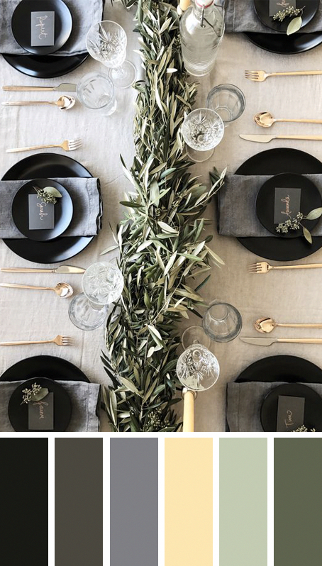 5 MODERN CHRISTMAS TABLE SETTING COLOR PALETTE IDEAS TO COPY THESE HOLIDAYS –  – Try something different with your table scape this Christmas! Bold black and glam gold in this gorgeous Christmas table setting by Amanda Dawbarn. Christmas decorating ideas, Christmas table settings, Christmas color palettes, Christmas color scheme, gold cutlery, black plates