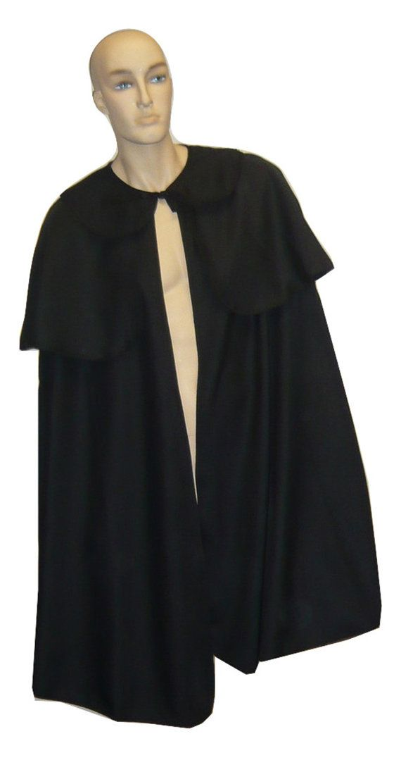 Dickens Black Victorian Mens Sherlock Holmes Cape with Collar 0120