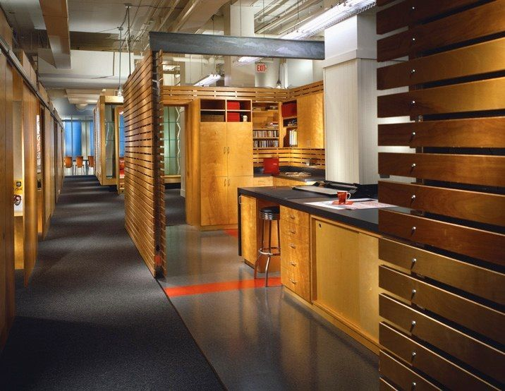 wood slat wall warms up the space thesis Pinterest