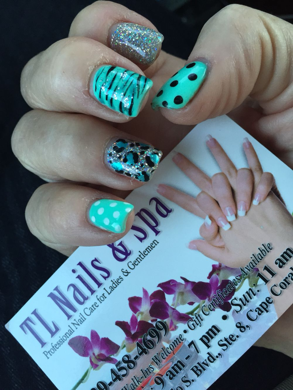 Teal and silver glitter by lien at TL nails