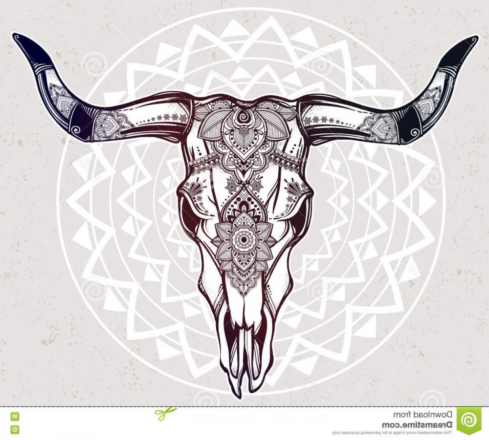 Indian Bull Skull Tattoo Hand Drawn Romantic Style Ornate Cow Skull Stock Vector Image Soidergi Cow Skull Tattoos Bull Skull Tattoos Skull Tattoo Flowers