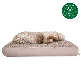FurHaven Pet Bed | Snuggle Terry & Suede Deluxe Pillow Dog Bed (Small - Clay)