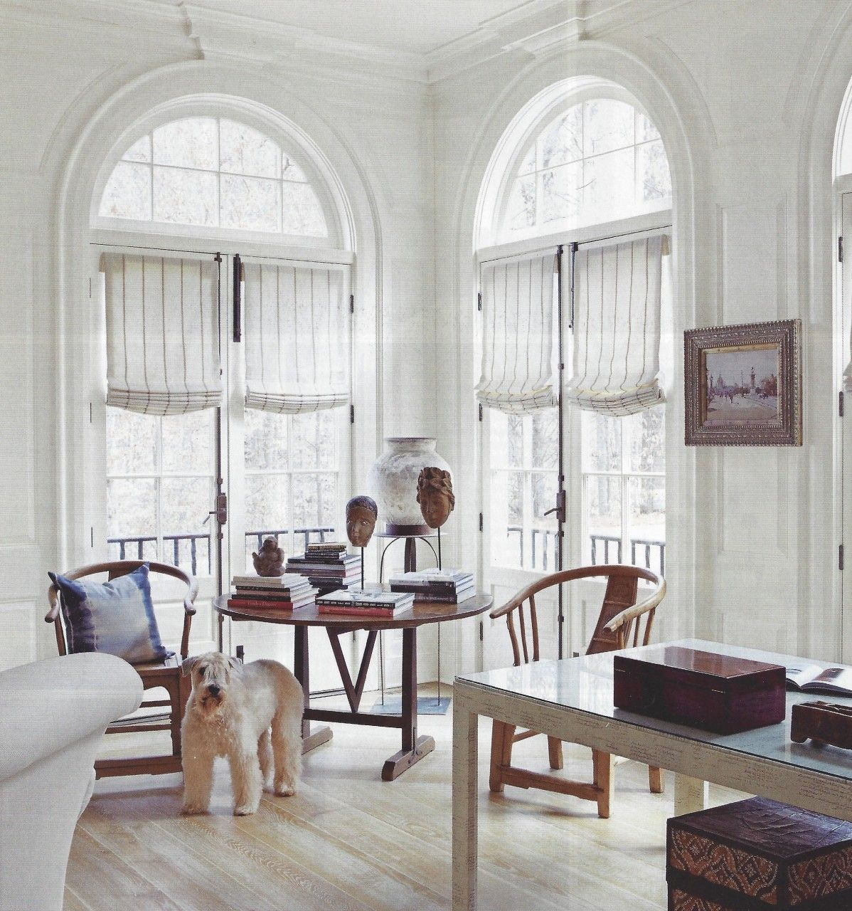 Arched Window Over French Doors With Casual Roman Shades