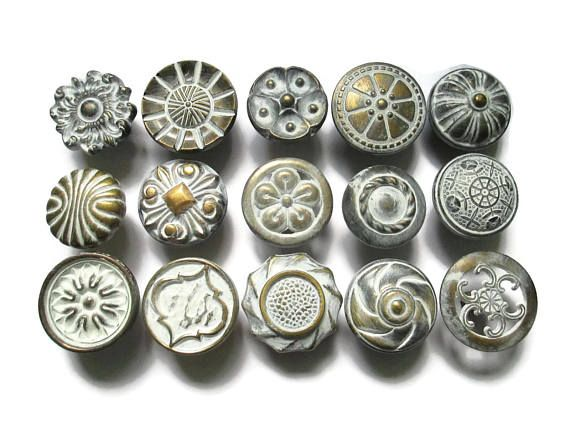 this listing is for a lot of 15 different vintage drawer knobs 1