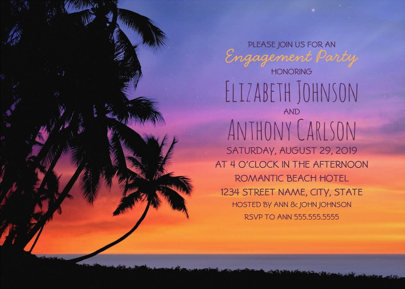 Tropical Sunset Beach Engagement party Invitations