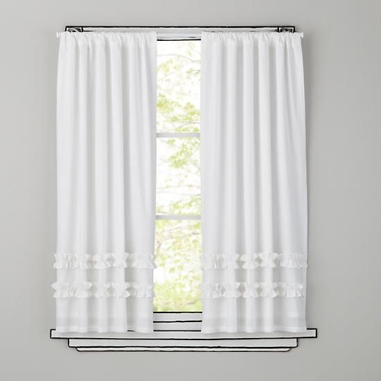 Kids Curtains Kids White Ruffle Curtain Panels The Land Of Nod