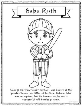Babe Ruth Baseball Coloring Page or Poster with Mini Biography