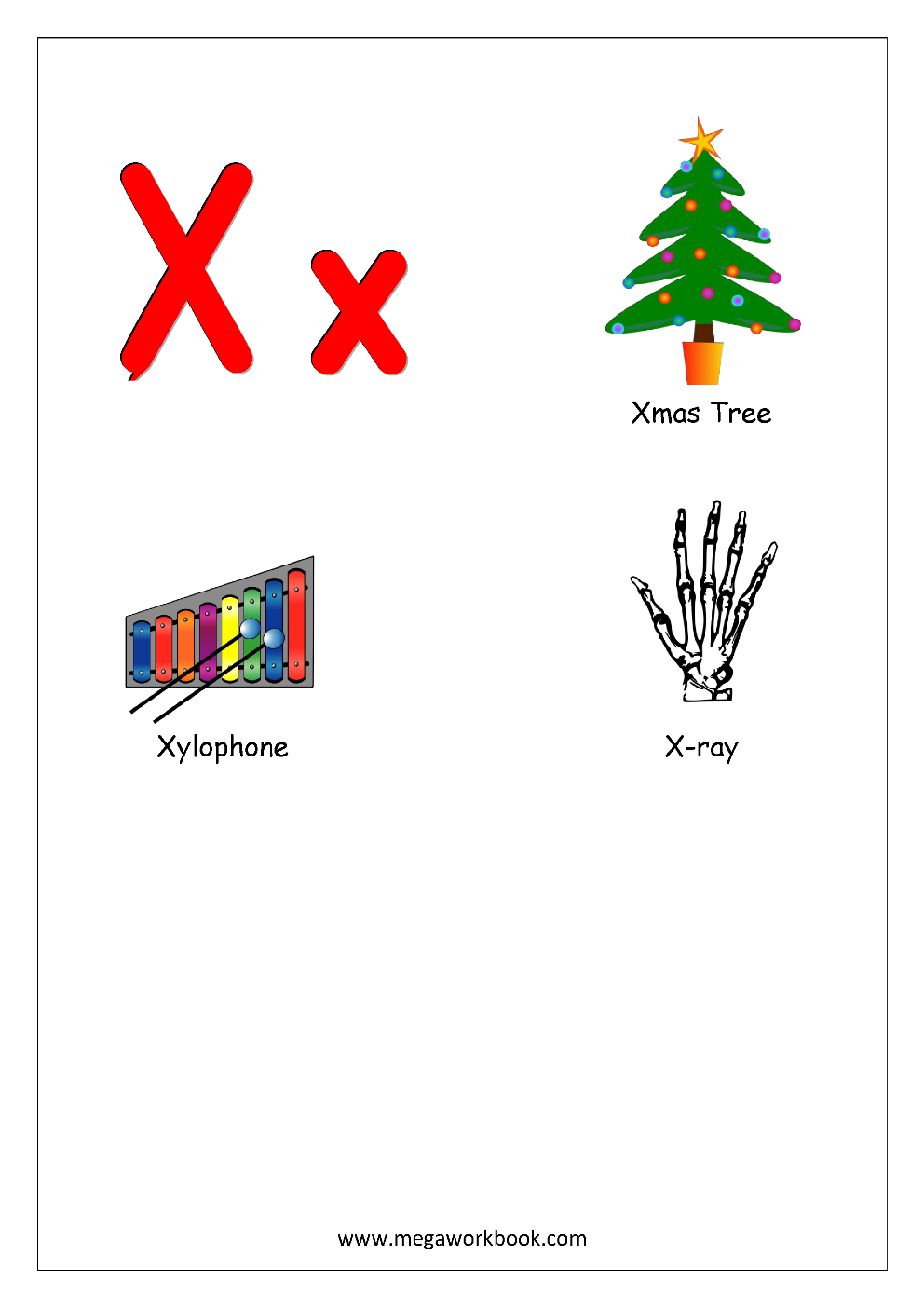 Objects Starting With Alphabet X English Worksheet