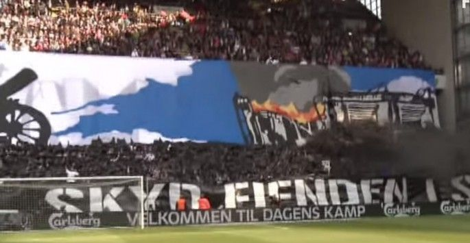"""Danish soccer fans """"bomb"""" their crosstown rivals' stadium in an amazing cannonball display"""