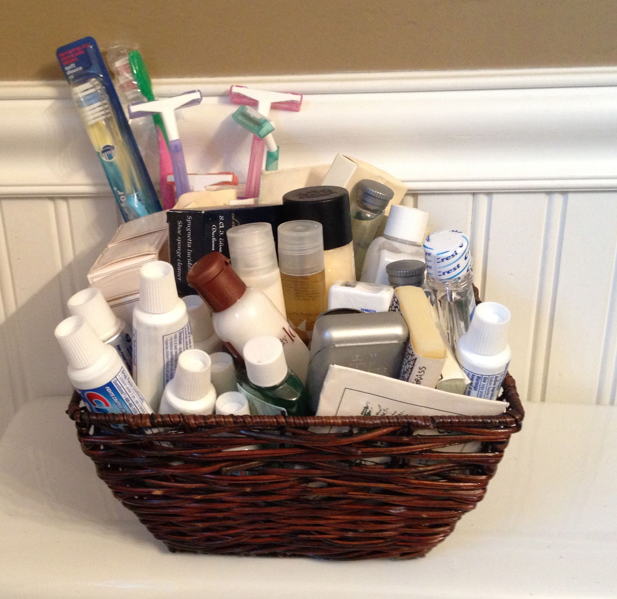 I Keep A Basket Of Sample Toiletries Collected From Hotels Along With Extra Toothbrushes In A Basket In My Guest Bathr Hotel Toiletries Basket Homemade Gifts