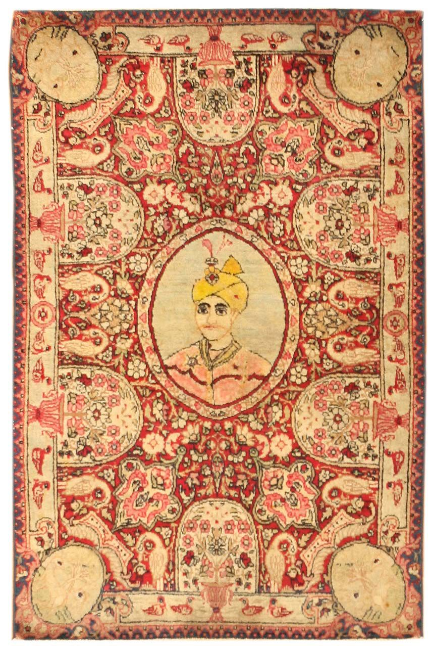 Antique Kerman Rug depicting a prince, late 19th century