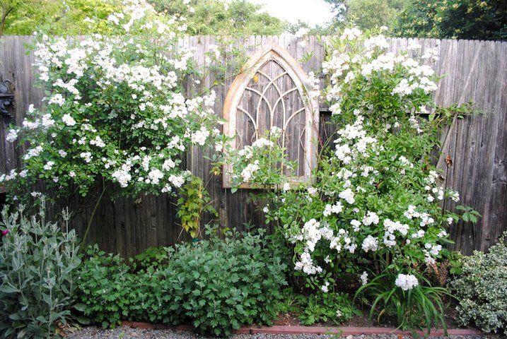 White garden with window Back Yard Dream Garden Pinterest Wood